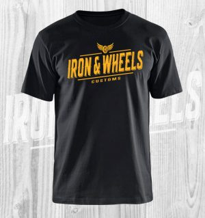 iron en wheels t shirt zwart geel