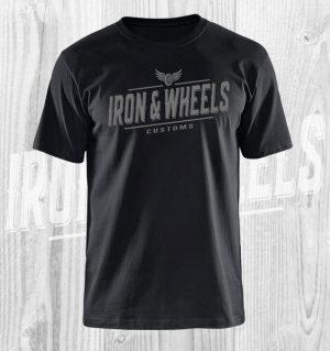 iron en wheels t shirt zwart grijs