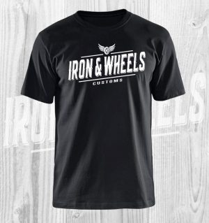 iron en wheels t shirt zwart wit
