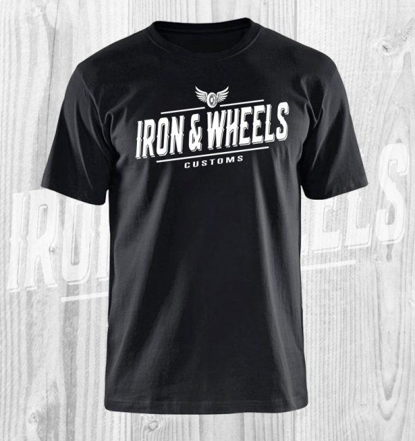 iron en wheels t shirt zwart wit